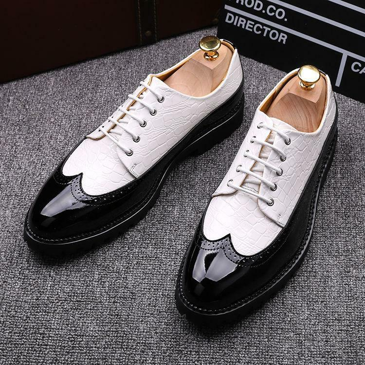 Brogue Uomo Wing Tip Carved Lace Up Dress Formal Shoes Oxfords British Wedding