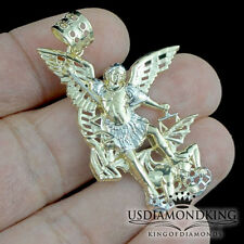 NEW MEN'S LADIES 10K REAL YELLOW GOLD ST. MICHAEL ARCHANGEL PENDANT CHARM 1.62""