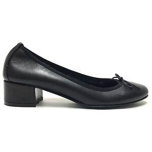lowest price a7d64 21268 Dettagli su Ballerine con tacco scarpe donna tacchetto colore nero vera  pelle made in italy