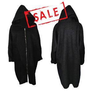 NEW Women Winter Warm Fluffy Long Black Acrylic Faux Fur Coat Jacket Hood Zip UK