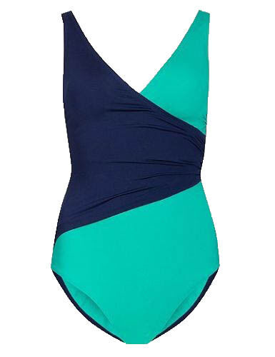 SS35 Ex Marks and Spencer Secret Slimming™ Colour Block Wrap Swimsuit