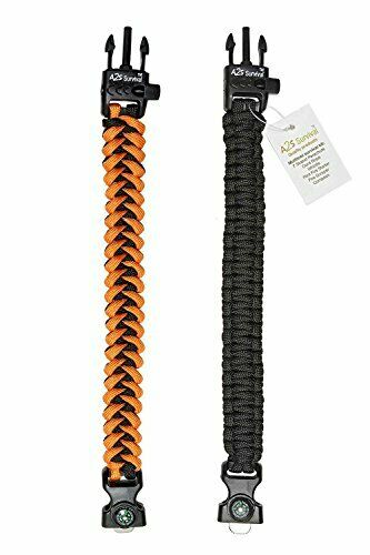 5 in 1 Lightweight /& Stylish Survival Emergency Paracord Bracelet for Kids 2ct