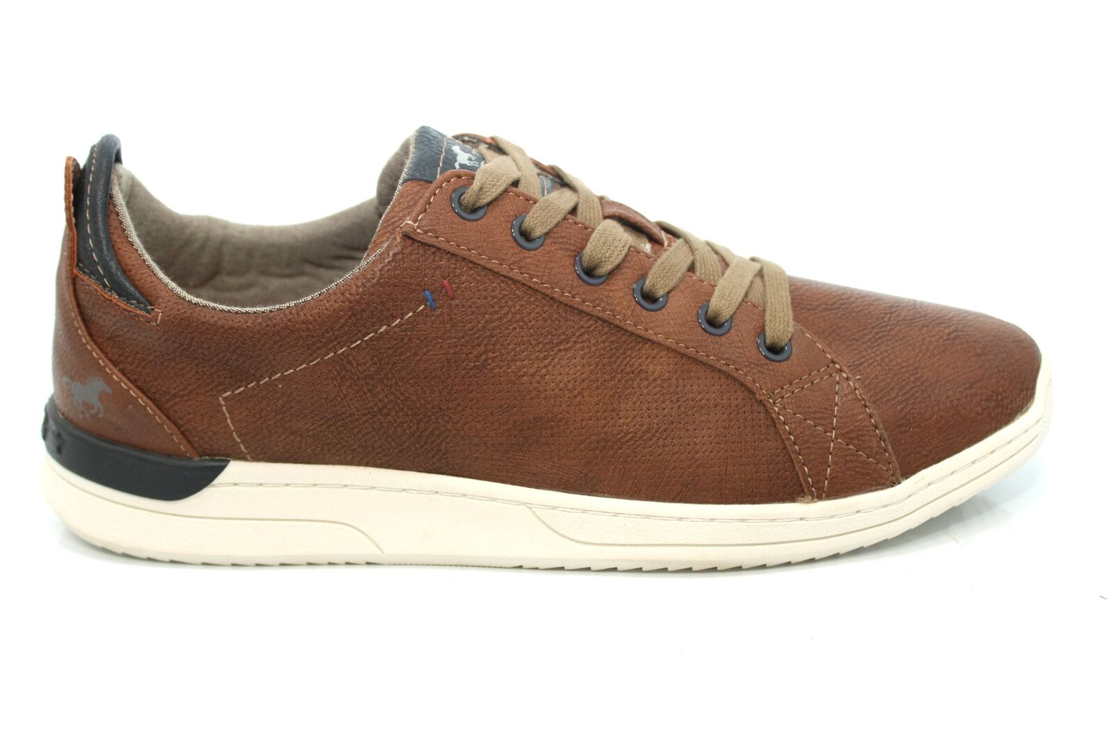 Mens Mustang Tan Flat Classic Casual Lace Up Trainers Shoes