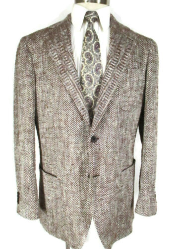 Suit Supply Brown Hbone 2 Btn Perla Silk Cotton Tw