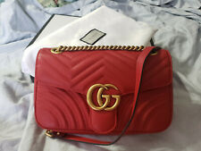 b1b110ed105db0 GUCCI MARMONT GG SMALL SHOULDER BAG RED QUILTED LEATHER AUTHENTIC