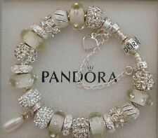 Authentic Pandora Bracelet Genuine Swarovski Pearl 925 Sterling Safety Chain Box