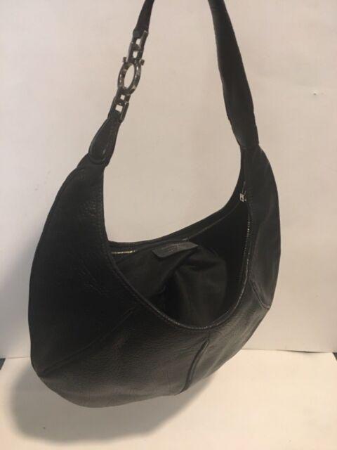 Salvatore Ferragamo hobo Black Leather Zipper Closure Purse 53e5e13024620
