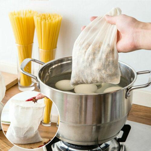 3X Reusable Cotton Food Strainer Mesh Bag Nut Milk Bean Muslin Soup Supplies UK