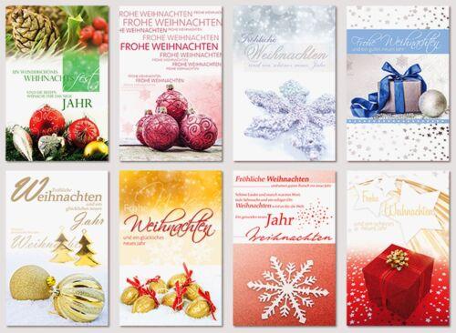 50 Stück Weihnachtskarten Grußkarten aufklappbar mit Kuverts NEU