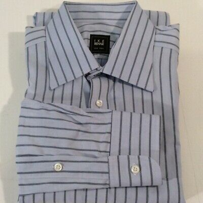 Ike Behar Blue Stripe 100/% Cotton Men/'s Dress Shirt Spread Collar 15.5 34//35