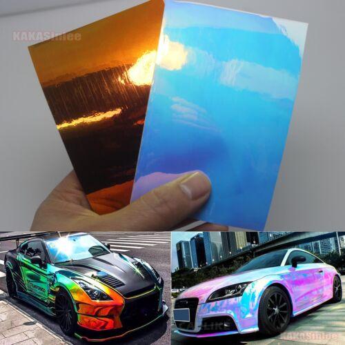 New Glossy Rainbow Magic Mirror Chameleon Chrome Car Vinyl Wrap Decal Sticker AB