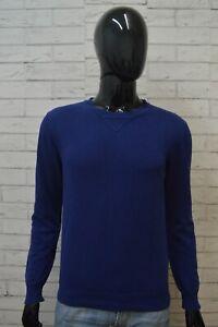 DONDUP-Maglione-Uomo-Pullover-Cotone-Maglia-S-Sweater-Casual-Cardigan-Blu-Man