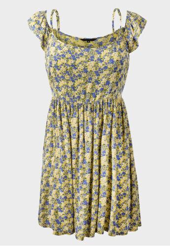 EX NEW LOOK SUMMER YELLOW FLORAL SUN DRESS 6 8 10 12 14 16 *NEW*