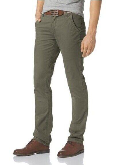 John Devin Cotone Slim Fit Fit Fit W30-w34 L32 Pantaloni Uomo Oliva Nuovo 8aa0d1
