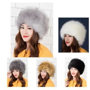 f67113b7a Details about Luxury Ladies Faux Fur Hat Russian Style Cossack Pillbox  Winter Fake Fur Cap