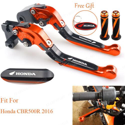 CNC Extent Handle Brake Clutch Lever and Grips For Honda CBR500R 16 Black Orange