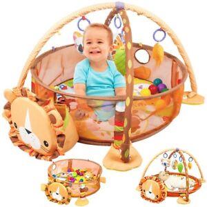 Krabbeldecke-mit-Spielbogen-und-Baelle-Erlebnisdecke-Baby-Spielmatte-Gymcenter