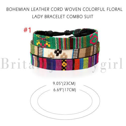 3pcs Set de chanvre cordes Wrap Ethnic Tribal bracelets Cuff Bracelet Pour Hommes Femmes