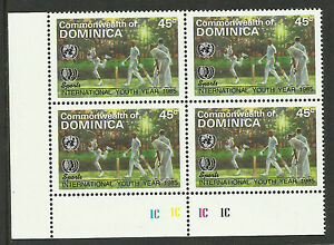 DOMINICA-1985-International-Youth-Year-SINGLE-CRICKET-Value-PLATE-BLOCK-of-4-MNH