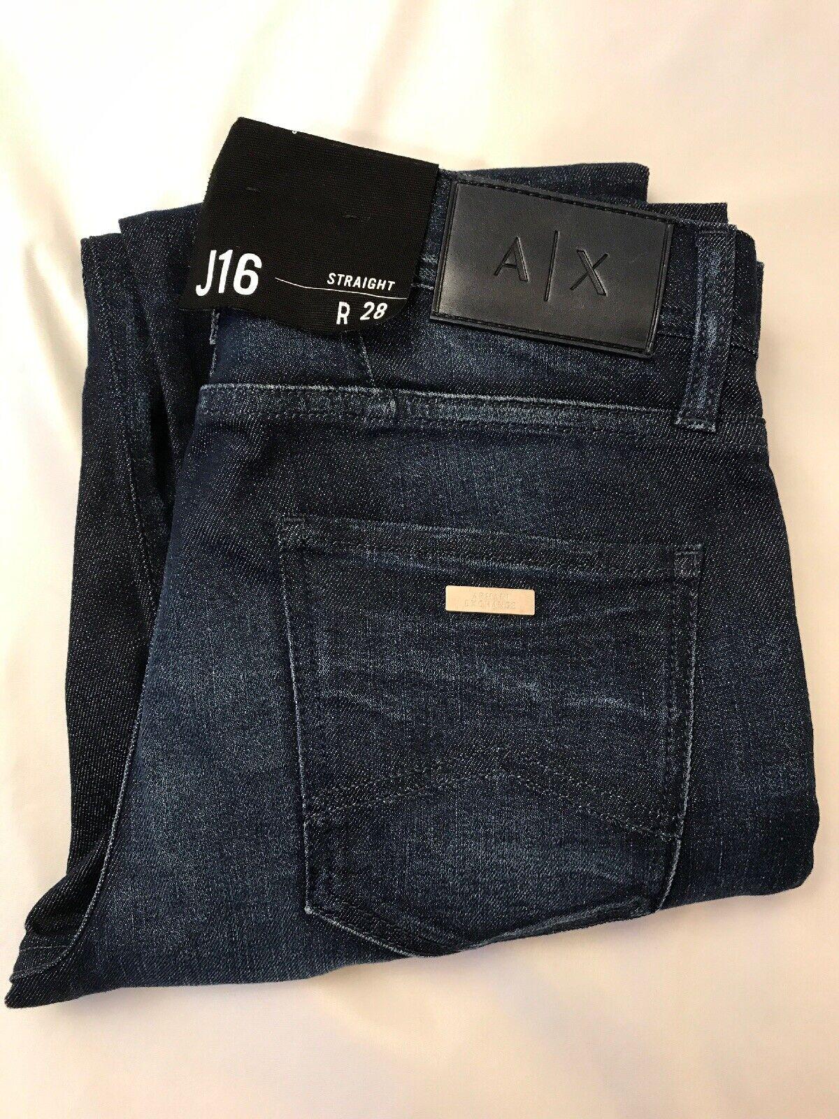 NWT Armani Exchange J16 STRAIGHT-FIT DARK INDIGO JEANS Size 28x32 bluee NEW +