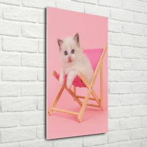Wandbild-Druck-auf-Plexiglas-Acryl-Hochformat-70x140-Katze-Liegestuhl