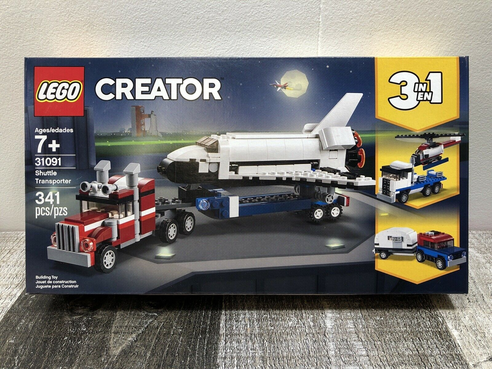 Helicopter Truck /& Trailer 3 in 1 Play Set for Boys LEGO Creator Space Shuttle