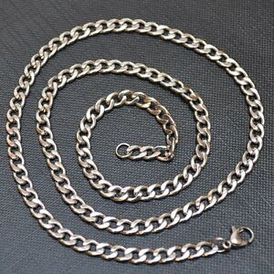 Stainless-Steel-Men-039-s-Necklace-Chain-Curb-Chain-50-CM-4-MM-K6