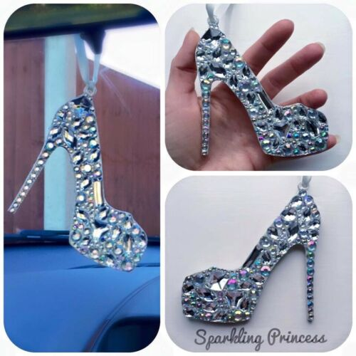 Car Hanging Mirror Ornament Crystal Shoe Charm Pendant Accessories Bling Craft