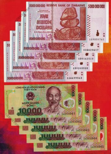 5 x 10,000 Vietnam Dong Banknotes ~Lot 10 Bills 5 x 5 Billion Zimbabwe Dollars