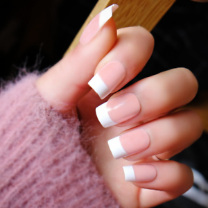 Medium *FRENCH MANICURE* Peach White Full Cover Press On 24 Nail ...