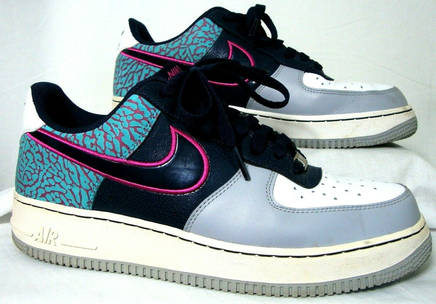NIKE Air Force 1 Mens 9.5 Low Midnight Navy Fusion Pink White 488298-417