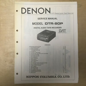 Details about Original Denon Service Manual for the DTR-80P Tape Recorder  DAT Owner/User