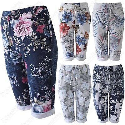 Stetig Ladies Floral Print Cotton Knee Length Shorts Womens Front Drawstring Trousers Entlastung Von Hitze Und Sonnenstich