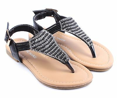 4 Color Ankle Strappy Buckle Girls Rhinestone Gladiators Kids Sandals Youth Size