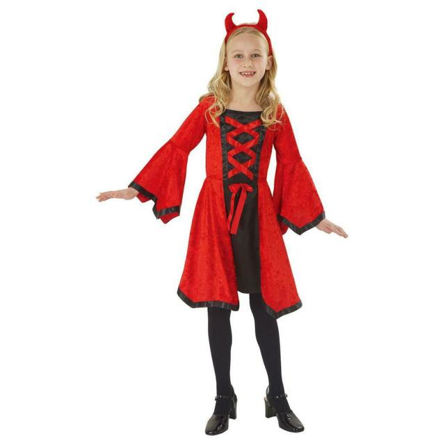 HALLOWEEN FANCY DRESS # RED DEVIL FLAME CATSUIT SM 8-10