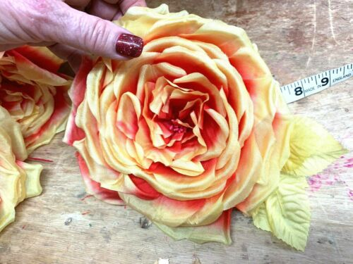 """VINTAGE Silk 6/"""" Bright YELLOW /& CHINESE RED  Leaves  CZECH FLOWER Hand Rolled"""