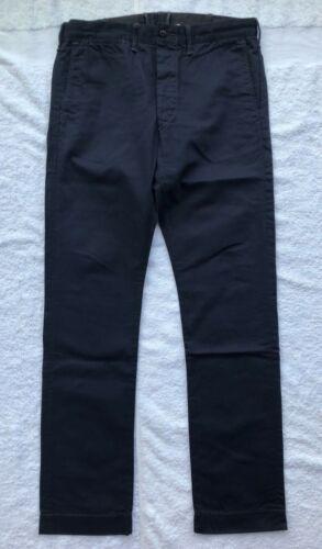 Double RL GPU Officer/'s Slim Twill Cotton Chino Pants Trousers Dark Blue W34//32