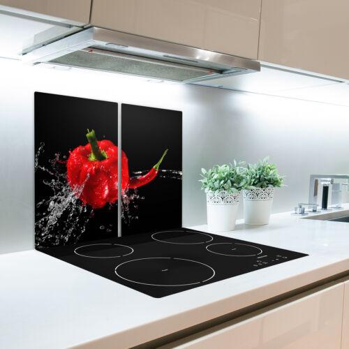 Glas-Herdabdeckplatte Ceranfeldabdeckung Zweiteilig 2x30x52 Rote Paprika