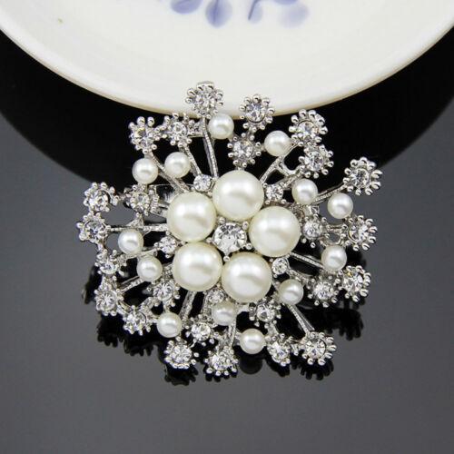 Diamante Crystal Rhinestone Snowflake Brooch Pin Breastpin Xmas Wedding Gift
