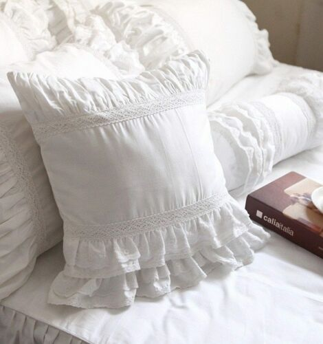 Shabby Chic European Cushion Pillow Cover Pillowcase White Lace Ruffled Square