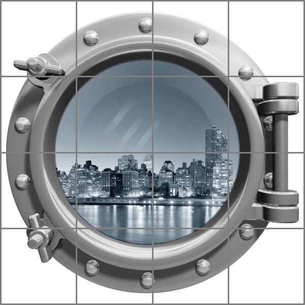 Fliesenaufkleber Fliesenbild Fliesen Bullauge Skyline Meer Meer Meer Stadt Aufkleber Bad | Neues Produkt  1f7122