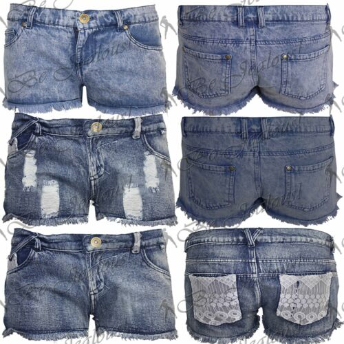 Womens Frayed Raw Edge Distressed Torn Ripped Denim Hot Ladies Pants Shorts Size