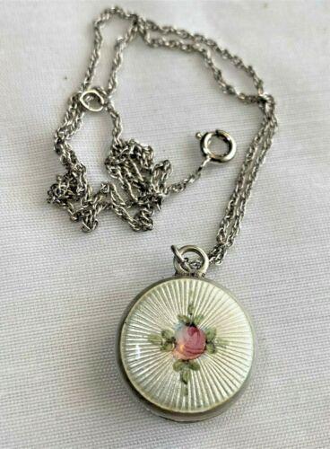 Sterling silver Rhodochrosite pendant pink white  gemstone silver flower filigree balependant