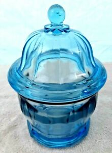 """Vintage Ice Blue Lidded Candy Jar Heavy Indiana Glass Air Bubbles 8.5"""" x 5.5"""""""