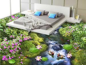 3D Flowers River 854 Floor WallPaper Murals Wall Print 5D AJ WALLPAPER UK Lemon