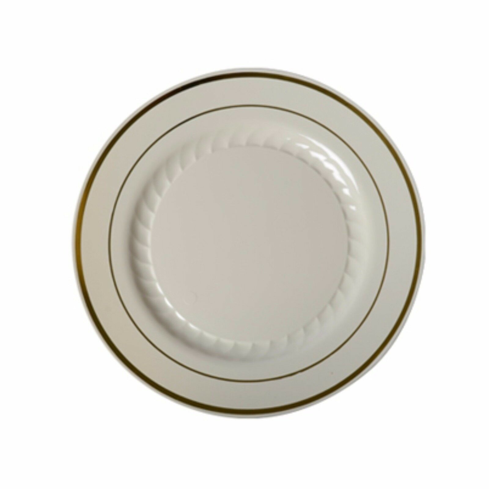 6  Salade Desert Ivoire PLAQUES Premium poids lourd en plastique avec bordure dorée (1 cas)