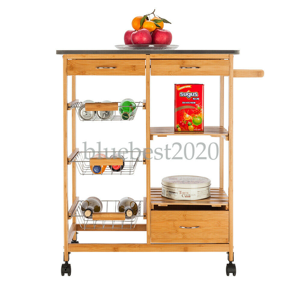 Kitchen Island Cart Trolley Portable Rolling Storage Dining Table 3 Drawers
