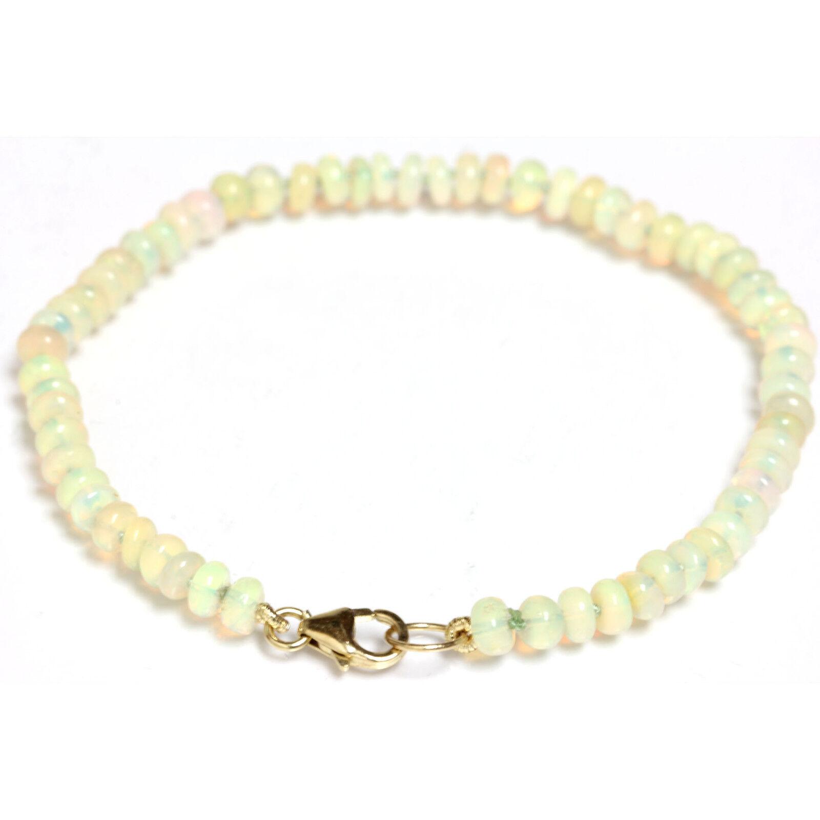 Ethiopian Fire Opal 4mm bead bracelet   Anklet 14k Yellow gold
