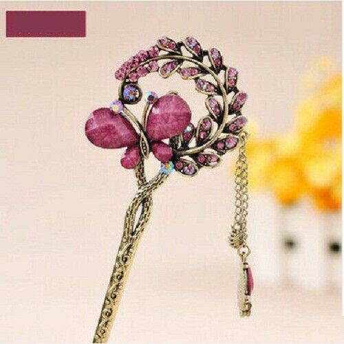 Hairpin New Butterfly Retro Love Rhinestone Stepping Girl Stick Hair Accessories