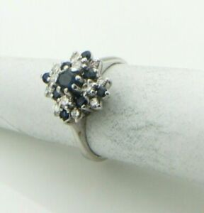 Ladies-18ct-White-Gold-Sapphire-amp-Diamond-Cocktail-Dress-Ring-UK-Size-J